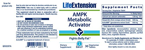 Life Extension AMPK Metabolic Activator, 30 Vegetarian Tablets