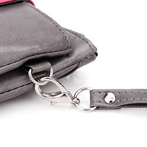 Kroo Pochette Portefeuille en Cuir de Femme avec Bracelet Cuir pour Microsoft Lumia 640XL LTE/640XL Dual SIM noir - Noir/rouge Gris - Grey and Magenta