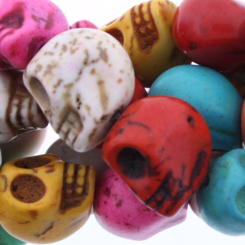 Dyed Multicolor Turquoise Magnesite : Skull-Carved - 12mm Height, 10mm Width, 13mm Thickness , No Grade - Sold by: 16 Inch Strand by Loose beads