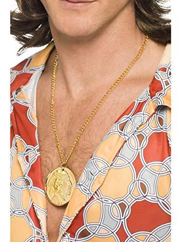 Accessoires Zubehör 60er 70er Jahre Goldkette mit Medaillon Anhänger Münze, perfekt für Karneval, Fasching und Fastnacht, Gold ()
