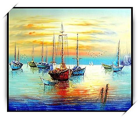 Haehne Modern Le bateau Toiles en coton Impression Oeuvres Peintures à l'huile Photo Imprimé sur toile Art mural pour les décorations maison à la chamber, 40 *30cm(16 *12Inch),Image seulement