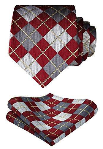 Hisdern Herren Krawatte Taschentuch Check Krawatte & Einstecktuch Set Check-krawatte Tie