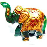 Urancia® Blessing Green Aventurine Gem Stone Elephant Home Decorative Showpiece Attractive Design Green Aventurine Stone Painted Elephant Polishes Green Aventurine Gemstone Idol Best Gifts Items For Home Decoration Item 351.5Cts