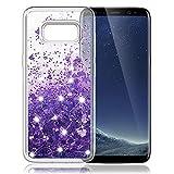 K&L Hülle für Samsung Galaxy S8, Fließen Flüssig Bling Dynamisch Glitzer Anti-Rutsch Kratzfest Silikon Schutzülle Schale Luxus handyschalen Shiny Glanz Cover Beschützer für Samsung S8 - Lila