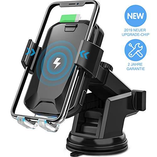HiGoing Kfz Handyhalterung, 10W Qi Wireless Schnellladung, automatische Klemmung Windschutzscheiben Armaturenbrett & Lüftungsschlitz Telefonhalter für iPhone XS Max XR 8 8 Plus, Samsung Galaxy S10 usw