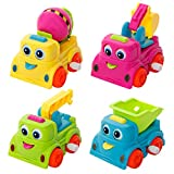 SGILE Sets of 12 Mini Push Pull Back Car Model Kit Dump Truck Excavator Play Vehicle Playset Preschool Learning for Children Toddlers Kids Birthday Gift