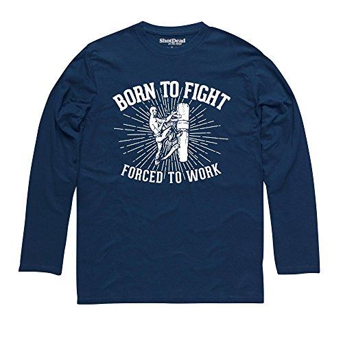 Born To Fight - Wing Chun Langarmshirt Funny Novelty Gift, Herren Dunkelblau