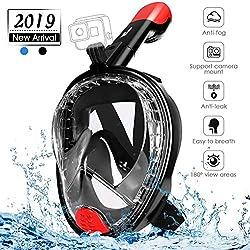 amzdeal Masque de Plongée Masque Snorkeling Full Face 180 ° Vue Panoramique Anti-buée et Anti-Fuite Set avec Sangles Réglables Tube de Plongée Plus Long pour Adultes et Enfants(Noir Rouge)