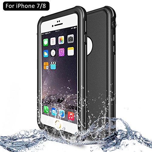 NewTsie Custodia Impermeabile iPhone 7/8, IP68 Certificato Waterproof Cover Slim Subacquea Caso Full Protezione Custodia Protettiva per iPhone 7/8 4.7 inch (P-Nero)
