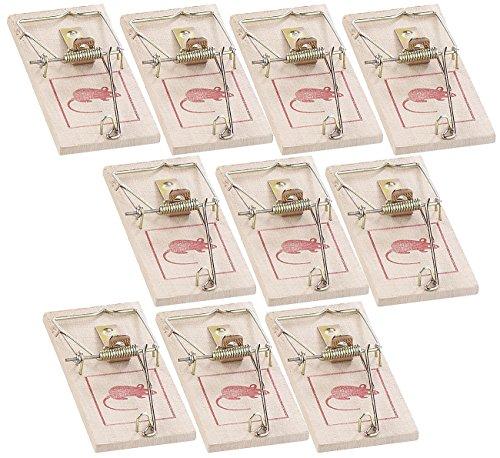 Exbuster Mausfalle: Klassische Holz-Mausefalle mit Metallbügel, wiederverwendbar, 10er-Set (Mausefalle für Hausbesitzer)