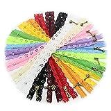 Yalulu 20 Stück 20cm Spitze Reißverschlüsse Sortiert Reißverschluss Zippers für Sewing Tailor Craft Kleid Beutel Tuch