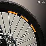 Motoking Fahrrad-Reflektorenaufkleber - Orange - 22 Aufkleber im Set - Breite: 10 mm - reflektierende Felgenaufkleber für Mountainbike-, Fahrradfelgen & mehr