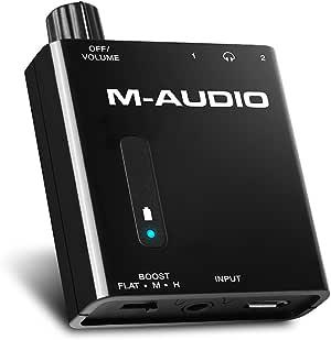 M-Audio Bass Traveler - Amplificateur Portable pour Casques d'Écoute avec Double Sortie,2 Niveaux de Boost, Contrôle du Volume et Indicateur LED – Batterie Recheargeable