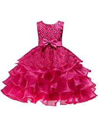 IWEMEK Kids Girls Lace Up Tulle Dress Wedding Bridesmaid Communion Party Ruffle Tutu Sequins Princess Bowknot Dress Formal Pageant Birthday Prom Dance Ball Evening Gown Dress Knee-Length 3-15 Years