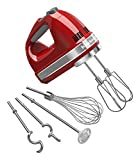 KitchenAid KHM926ER 9-Speed Digital Hand Mixer with Turbo Beater II Accessories and Pro Whisk - Empire Red