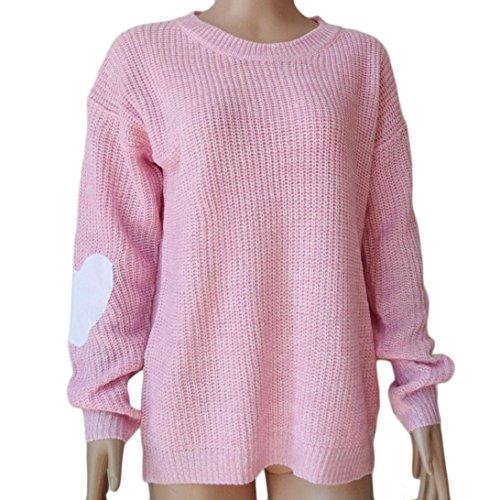 Transer ® Mode Femmes coeur manches imprimé pull tricoté Cardigan Rose