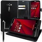 Asus Zenfone 2 Laser ZE600KL/ ZE601KL 6' Étui HCN PHONE Housse Portefeuille Etui Clapet Folio Livre Rabat Support Intégré pour Asus Zenfone 2 Laser ZE600KL/ ZE601KL 6' + stylet - NOIR