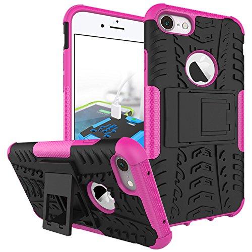 Hülle für iPhone 7 Plus, adorehouse 2 in 1 Hard PC Interior Soft TPU Hybrid Cover Abnehmbare Rüstung Defender mit Kickstand Anti-Rutsch-Shock Absorption Slim Kissen zurück Schützende Shell für iPhone  Pink