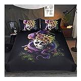 CSYPYLE Blumige Skull Lila Blumen Bettbezug Monster Floral Bett 3-Teilige Mystery Art Bettwäsche, Doppel