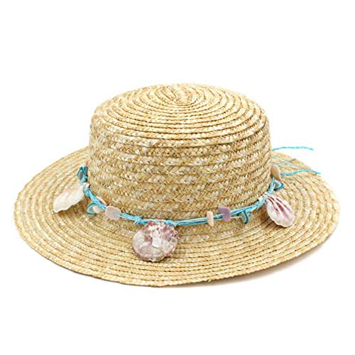 WNWZHWHR-Sun Hat Mode Frauen Stroh Boater Hut Sailor Skimmer Strand Sommer Sonne breiter krempe Cap @ beige