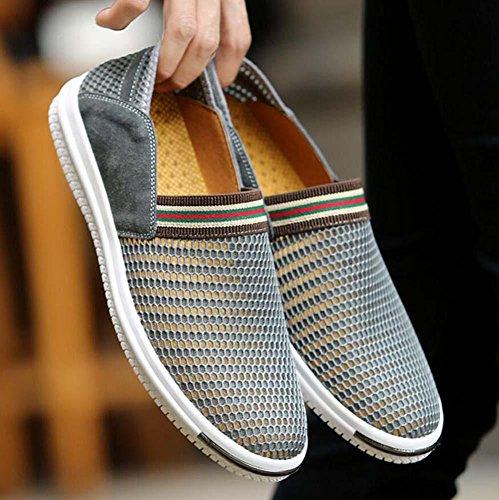 Pompe Glisser sur Flâneur Fil net Engrener Des sandales Décontractée Chaussures Hommes Respirant Creux Non-Slip Chaussures à pédales Sneaker Chaussures de sport Chaussures de conduite Chaussures pares Grey