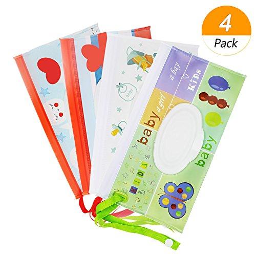 meetory wiederverwendbar Baby Wet Wipe Tasche, tragbar Reise Wipes Reinigungstücher Schutzhülle Spender für Baby oder Persönliche, umweltfreundlich Feuchttücherreisebox (4Pack)