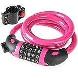 MUTANG Fahrradschloss Universal Fahrradschloss Kombination mit verzinktem Stahl Kabel 5-stellige Kombinationsschloss Anti-Diebstahl-Schlösser Multi-Color Optional (Farbe : Pink)