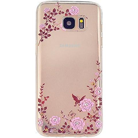 TKSHOP Custodia TPU Silicone sottile per Samsung Galaxy S7 Case Cover Materiale Morbida Caso Flessibile Trasparente Ammortizzante Antiurto Bello Dipinto - Giardino delle farfalle