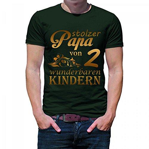 Herren T-Shirt Modell: Stolzer Papa von 2 wunderbaren Kindern 03 - khaki