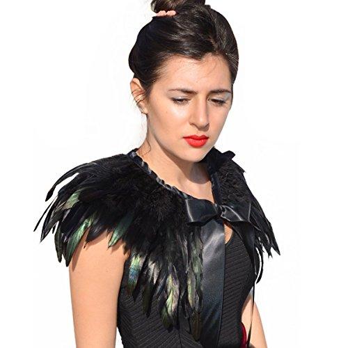 Grüne Echtes Natürliches Feder Bolero Handgearbeitet Kragen Cape Stola Schal Wrap Halloween Kostüm ()