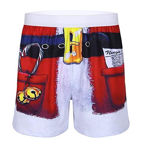 CHICTRY Herren Weihnachten Weihnachtsmann Hipster Boxershorts Retroshorts Unterhose 3D Druck Unterwäsche Trunks Rot Medium