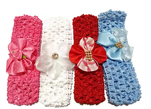 Manasvini Little Baby Head Band - Girl/New Born/Toddlers with Ivory Flower Bunch in lace Crochet lace Kids Hair Accessories for Size 0-24 Months (Combo Set of 4)