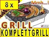 8 x Einweggrill als Campingkocher Klappgrill Faltgrill CAMPING GRILL Grillroste Alu-Grill Einmalgrill Holzkohlegrill (ohne Gasgrill) Einmalgrill