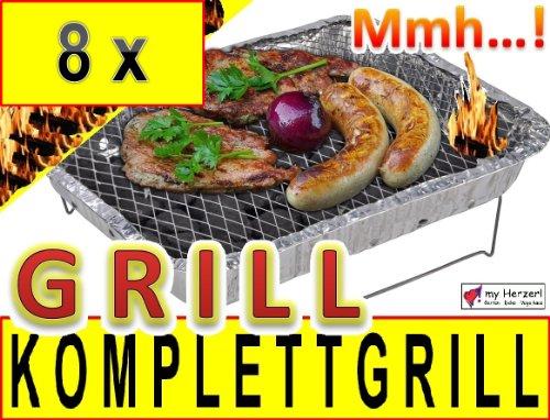 51ddSHrax7L - 8 x Einweggrill als Campingkocher Klappgrill Faltgrill CAMPING GRILL Grillroste Alu-Grill Einmalgrill Holzkohlegrill (ohne Gasgrill) Einmalgrill