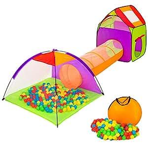 TecTake Tenda Igloo per bambini con tunnel + 200 palline + tenda tascabile - Tenda da gioco con palline per bambino