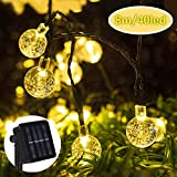 Nasharia Nasharia LED Solar Lichterkette Aussen 8M 40er LED 8 Modi IP65 Wasserdicht Warmweiß Außerlichterkette Deko Beleuchtung Kugel mit Lichtsensor für Garten,Hochzeiten, Partys[Energieklasse A+++]