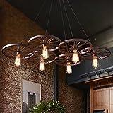 Lámparas de araña viento industrial nostalgia retro mesa rústica barra de araña Lámparas de ruedas Cafetería Restaurante araña de hierro , heads of six