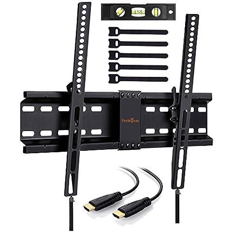 Inclinaison Low Profile support mural pour TV pour la plupart 32–177,8cm LED, LCD, OLED et plasma téléviseurs à écran plat avec VESA Patterns jusqu'à 600x 400Comprend 10Pieds câble HDMI, niveau à bulle, béton ancres et attache de câble par Perlegear