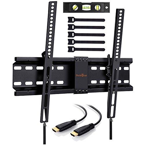 Perlegear Wandhalterung TV Neigbar, Fernsehhalterung 4K LED LCD OLED Flachbildfernseher, 81-178cm 32-70 Zoll VESA 200x100-600x400mm Neigbar Fernseh Wandhalterungen Schwarz, 1.8m HDMI Kabel Wasserwaage
