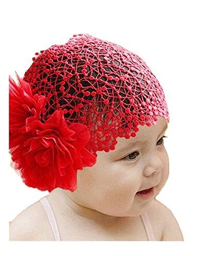 nette Spitze breite Kopfband mit großer Blumen Stretch Kopfbedeckung Kopfschmuck Kopfverpackung Farbe Rot (Perücken Für Kleinkinder)