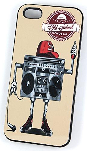 Old School Boombox Ghetto Blaster Robot (Housse/Etui rigide en plastique pour iPhone 5/5S Noir