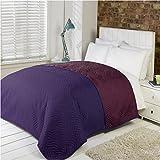 Luxus Weich Gesteppt Bettdecke Microfibre Überwurf Tagesdecke Bettwäsche Passt Doppelbett Größe Bett - Weinrot
