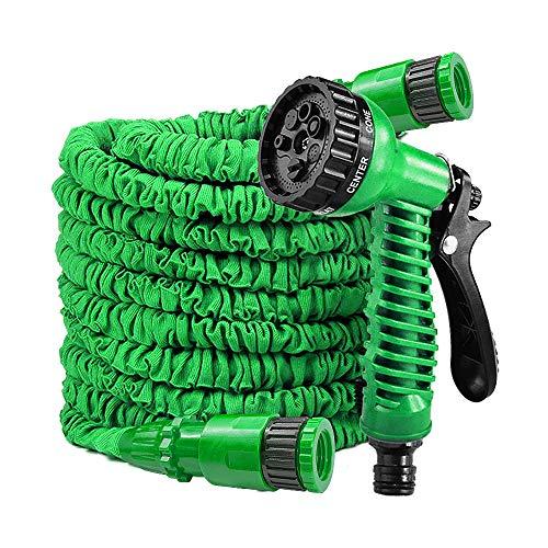 LARS360 Flexibler Gartenschlauch Raktisch Dehnbarer Wasserschlauch Flexibel Schlauch ausgedehnt mit Brause für Haus Garten zur Gartenbewässerung Rasenbewässerung (30M - 100FT, Grün)