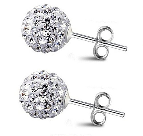 ling Silber Shamballa Swarovski Element Kristall 10mm Größe Disco Kugel Ohrstecker Ohrringe (Disco Ohrringe)