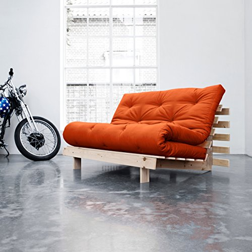 KARUP - ROOTS 140 CM, divano e letto, futon arancione su legno naturale
