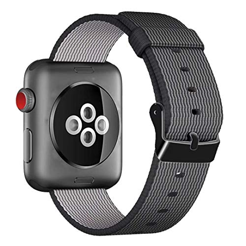 HILIMNY For Apple Watch Strap 38MM, Stainless Steel Buckle iWatch Strap, for 3 Series, 2 Series, 1 Series, Nike +, Edition, Hermes, Black, 38MM