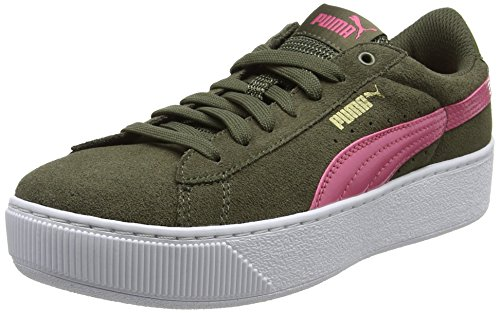 Puma Damen Vikky Platform Sneaker, Grün (Olive Night-Rapture Rose), 39 EU