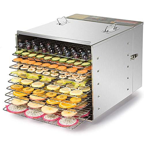 Co-z essiccatore alimenti/frutta in acciaio inox a 10 piani, macchina per disidratazione cibo frutta verdura 1200w
