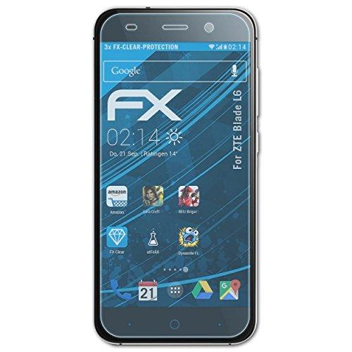 atFolix Schutzfolie kompatibel mit ZTE Blade L6 Folie, ultraklare FX Bildschirmschutzfolie (3X)