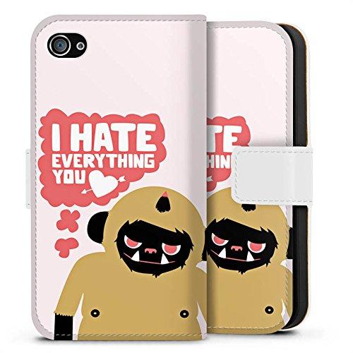 Apple iPhone X Silikon Hülle Case Schutzhülle Monster Sprüche Liebe Sideflip Tasche weiß